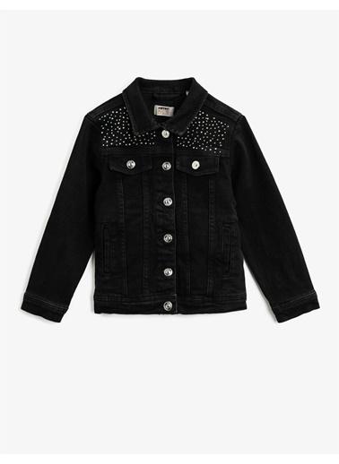 Koton Tasli Cepli Klasik Yaka Pamuklu Jean Ceket Siyah